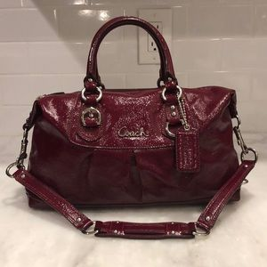 Coach Crimson Red Ashley Patent Leather Satchel
